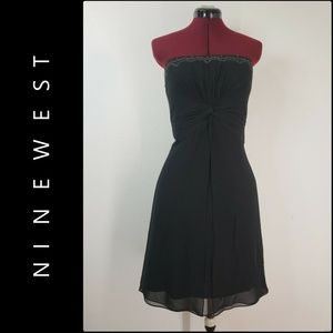 Ninewest Woman Strapless Chiffon Black Dress Sz 12